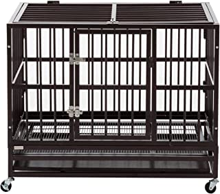 Sliverylake Dog Cage Crate Kennel - Heavy Duty Double Door Pet Cage w/Metal Tray Wheels Exercise Playpen