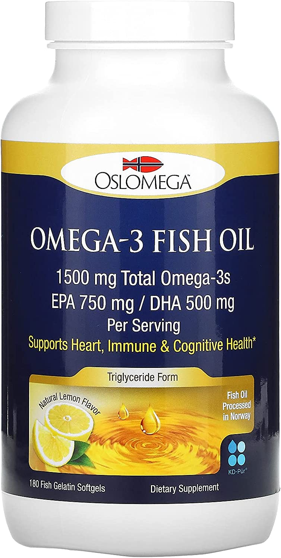 Max 67% OFF New York Mall Oslomega Omega-3 Fish Oil 750 mg DHA EPA Lemon Natural 500