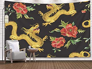 Asdecmoly Psychedelic Tapestry Printing Wall Hanging Tapestries for Living Room and Bedroom 60 Lx50 W Inches Embroidery Oriental Floral Pattern Golden Dragons Red Poppies Art Printing Inhouse