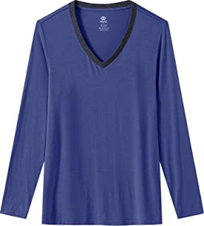 Women's Long Sleeve Nightgown Loose Fit V Neck Night Sleep Shirts Comfy