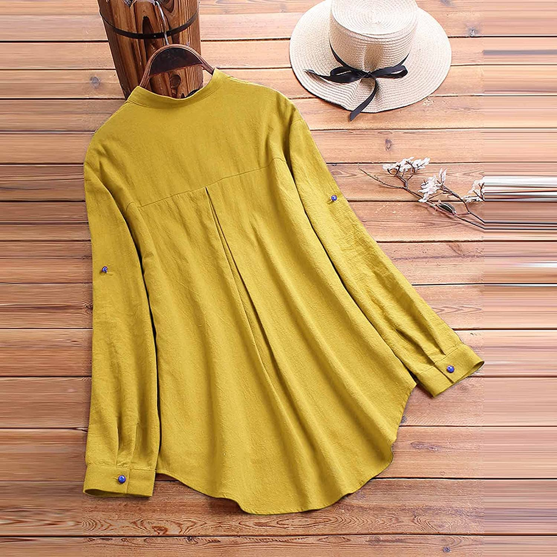 Assletes Plus Size Women Shirt V-Neck Long Sleeve Printed Linen Button Casual Tops Blouse