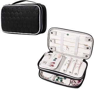 Colliers et Boucles doreilles Simboom Trousse /à Bijoux de Voyage Black Bracelets Sac de Rangement Multifonctionnel pour Bagues Montres