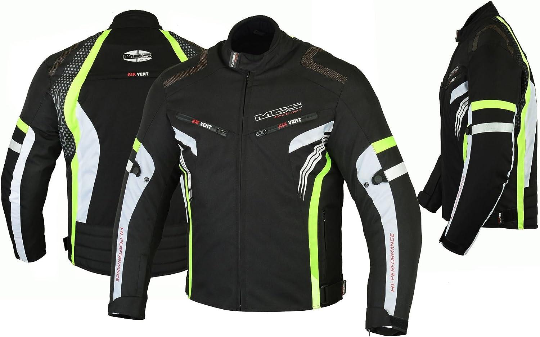 MBSmoto MJ22 Max Motocicleta Motocicleta Corta Textile Touring Jacket (Amarillo, 3XL)