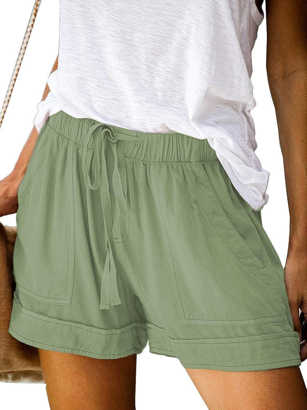 Bunanphy Womens Drawstring Casual Elastic Waist Loose Shorts with Pockets