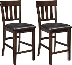 Ashley Furniture Signature Design - Haddigan Counter Barstool - Set of 2 - Vinyl Upholstered Seat - Dark Brown Finish