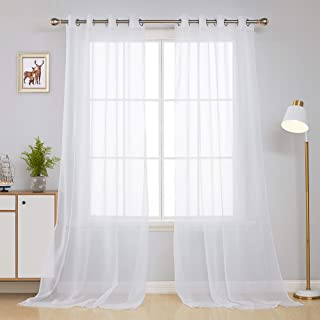 Deconovo White Sheer Curtains 95 Inch Length Grommet Voile Drape Curtains for Living Room 2 Panels 52x95 Inch