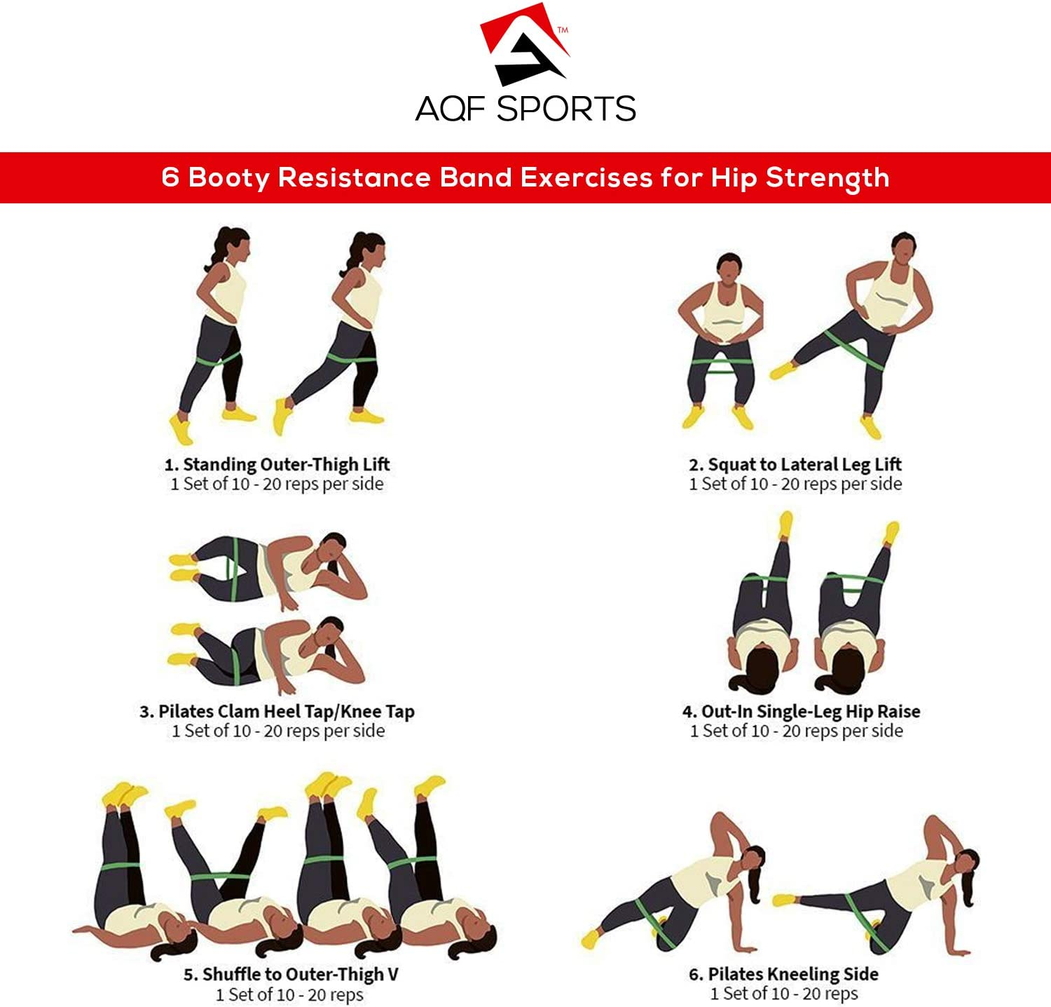 Buy AQF Hip Resistance Bands Set with 20 Stretch Levels Glute ...