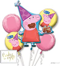 Andaz Press Balloon Bouquet Party Kit with Gold Cards & Gifts Sign, Peppa Pig Birthday Foil Mylar Balloon Decorations, 1-Set
