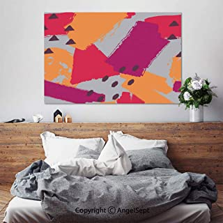 SfeatruAngel_SOSUNG Framed Wall Art Canvas Painting,Geometric and Brush Painted Elements(24