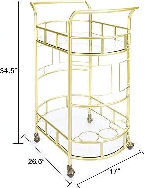 """Silverwood FS1133B-COM Sinclair 2-Tier Serving Cart 2, 17"""" L x 26.5"""" W x 34.5"""" H, Gold"""