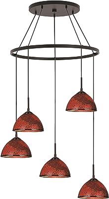 Woodbridge Lighting 16428MEB-M60RDD Chandelier, Mosaic Red