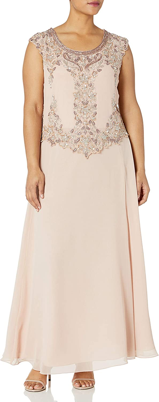 J Kara Women's Plus Size Cap Sleeve Long Beaded Dress