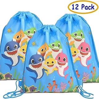 Baby Cute Shark Drawstring Gift Bags for Shark Party Shark Birthday Supplies(12 Pack)