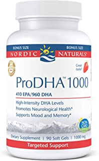 Nordic Naturals ProDHA 1000, Strawberry - 90 Soft Gels - 1660 mg Omega-3 - High-Intensity DHA Formula for N...