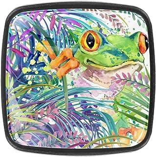 Juego de 4 pomos de cristal para cocina armario aparador armario diseño de rana tropical exótica hojas verdes y fauna...