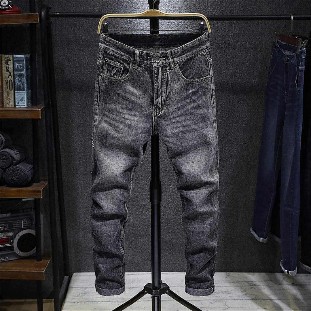 NDLENG Pantalon Crayon en Denim Extensible Coupe ajustée pour Hommes Noir