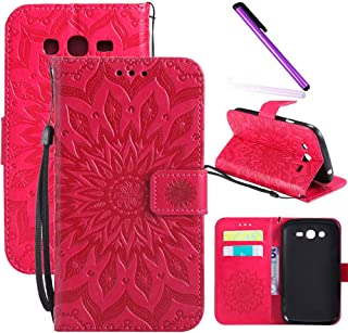 Galaxy Grand Neo Plus I9060 Case LEECOCO Embossed Floral Wallet Case with Card Cash Holder Slots Wrist Strap [Kickstand] PU Leather Flip Slim Case Cover for Samsung Galaxy Grand Neo Mandala Red