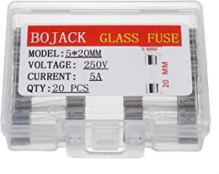 BOJACK 5x20mm 5A 5amp 250V 0.2x0.78 Inch F5AL250V Fast-Blow Glass Fuses(Pack of 20 Pcs)
