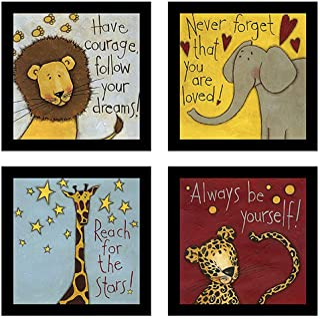 Motivational Animals Framed Painting/Posters for Room Decoration, Set of 4 Black Frame Art Prints/Posters for Living Room ...