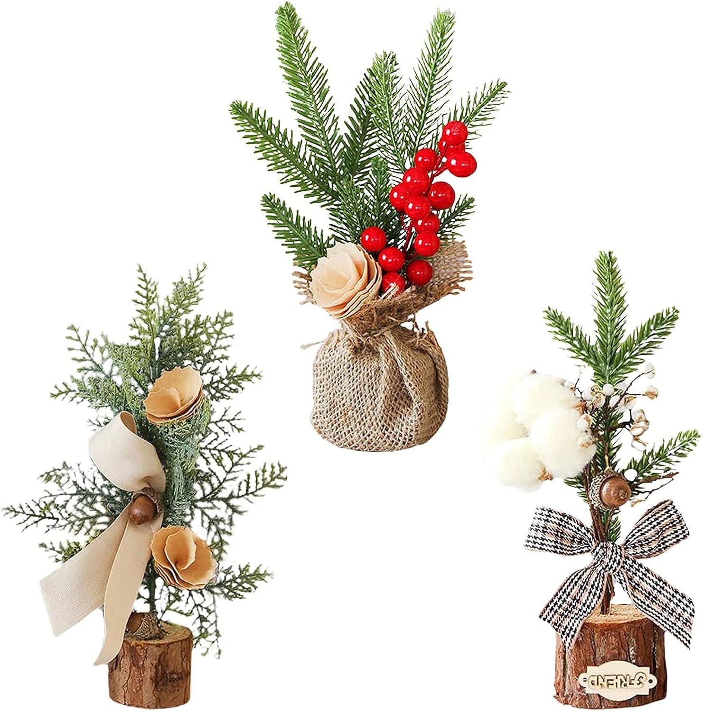 ADSVMEL 3Pcs Christmas Tree Max 56% OFF Berry Top Table Mini Fashionable