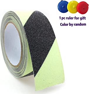 Anti Slip Traction Tape Glow in Dark 2 Inch x16.4 Ft Strong Grip Waterproof Friction Abrasive Adhesive for Stairs Tread Step Indoor and Outdoor Black Green Stripes