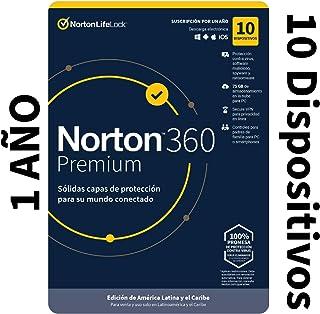 Norton 360 Premium - Software Antivirus para 10 Dispositivos con VPN, Copia de Seguridad de 75GB para PC, Control Parental...