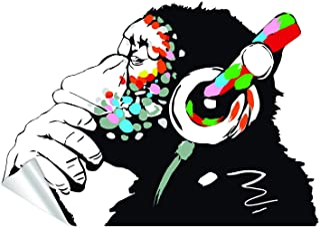 Banksy Thinking Monkey Sticker - Art Vinyl Street Dj Baksy Wall Decal - Headphones Chimp Music Thinker Graffiti Mural - Bo...