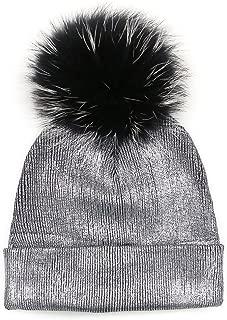 GZHILOVINGL Womene's Metallic Beanie with Big Fur Pom Pom, Double Deck Spring Hat