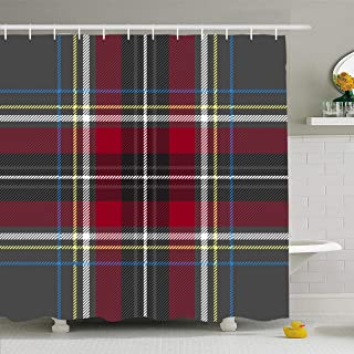 Ahawoso Shower Curtain 60x72 Inches Blue Black Gray Red Check Plaid Yellow Abstract Cashere Celtic Culture Diagonal Gingham Waterproof Polyester Fabric Bathroom Curtains Set with Hooks