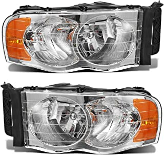 Partsam Headlights Headlamps Assembly Replacement for Dodge Ram Pickup 2002 2003 2004 2005 Trucks Driver and Passenger Side Head Lights Lamps Chrome Housing with Amber Reflector CH2502135 CH2503135