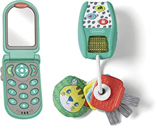 INFANTINO Mini-me Pretend Gift Set - Flip and Peek Phone with Music and Lights Key Ring, Easy-to-Grasp Toys for Babies' Ea...