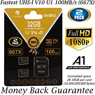 2 Pack 32GB Micro SD SDHC Memory Card Plus Adapter (Class 10 U1 UHS-I V10 A1 Pro MicroSD HC) Amplim 2X 32 GB Ultra High Speed 667X 100MB/s UHS-1. Cell Phone, Tablet, Camera TF MicroSDHC Flash