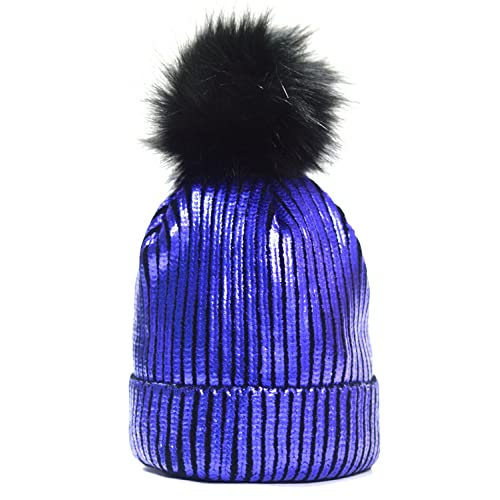FADA Warm Chunky Soft Cable Knit Slouchy Beanie Pom Pom Skull Hats Shinny  Punk Caps 4be3b45036d