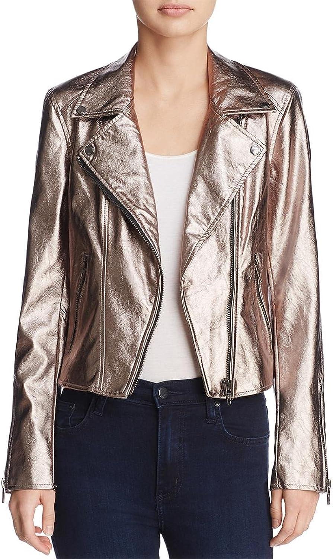 [BLANKNYC] Blank NYC Womens Metallic Faux Leather Moto Coat