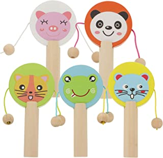 TOYANDONA 5pcs Rattle Toy Drum for Infant Shaker Toy Musical Rattles for Baby Boy Girl Toddler Instrument Educational Toy