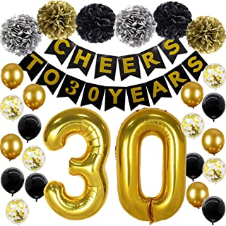 30th Birthday Party Decorations Cheers to 30 Years Banner 30th Number Balloons Black and Gold 30 Birthday Party Supplies 30th Birthday Decorations