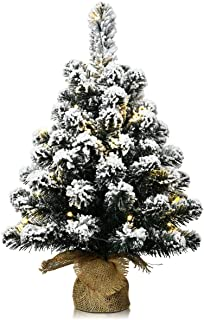 Goplus Snow Flocked Tabletop Christmas Tree, Battery Operated/with Built-in Timer and LED Lights, Xmas Decor for Indoor and Outdoor
