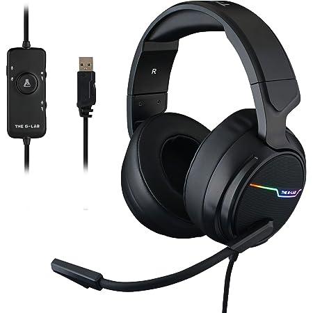 THE G-LAB Korp THALLIUM Cascos Gaming USB 7.1 Digital Surround - Auriculares Gaming - Micrófono con cancelación de ruido, LED RGB - Compatible con PC PS4 Mac (Negro)