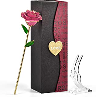 FORGIFTING 24K Gold Real Rose Flower, Resin Preserved and Gold Dipped Roses - Gift for Her in Valentines Day, Mothers Day, Anniversary, Wedding, Birthday (Forever Pink Rose, with Transparent Stand)