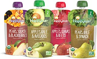 Happy Baby Organic Clearly Crafted Stage 2 Baby Food Variety Pack, Pear Squash & Blackberries, Apple Kale & Avocado, Apple Guava & Beet, Pear Kale & Spinach, 4 Ounce Pouch (Pack of 16)