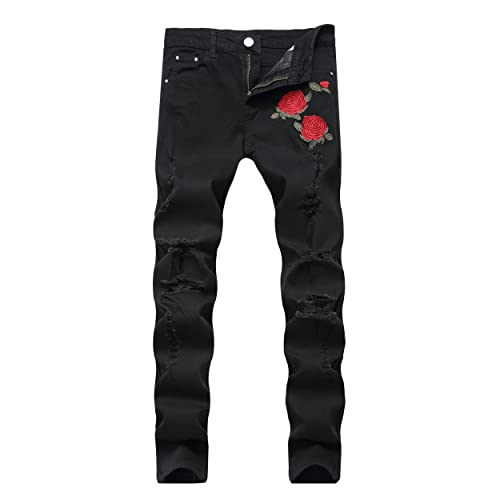 9900a74b597 CLOTPUS Men s Slim Fit Ripped Stretch Jeans Destroyed Skinny Pants with  Holes