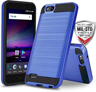 Phone Case for [ZTE ZFIVE G LTE (Z557BL) / ZTE ZFIVE C LTE (Z558VL)], [Protech Series][Blue] Shockproof Impact Resistant Defender Cover (Tracfone, Simple Mobile, Straight Talk, Total Wireless)