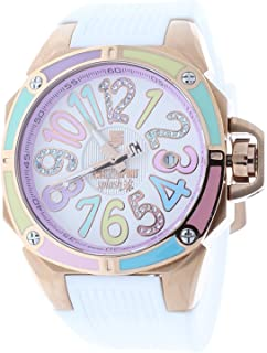 Technosport TS-200-S38 40mm Womens Watch Rose Gold Case 25mm White Silicone Strap Swarovski Multicolor Dial