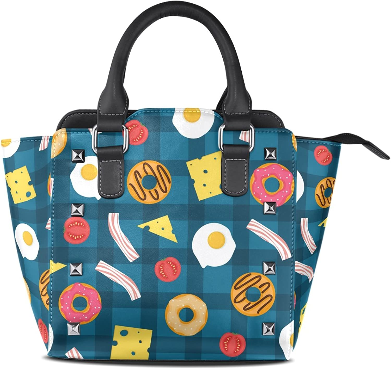 My Little Nest Women's Top Handle Satchel Handbag Eggs Cheese Donuts Ladies PU Leather Shoulder Bag Crossbody Bag
