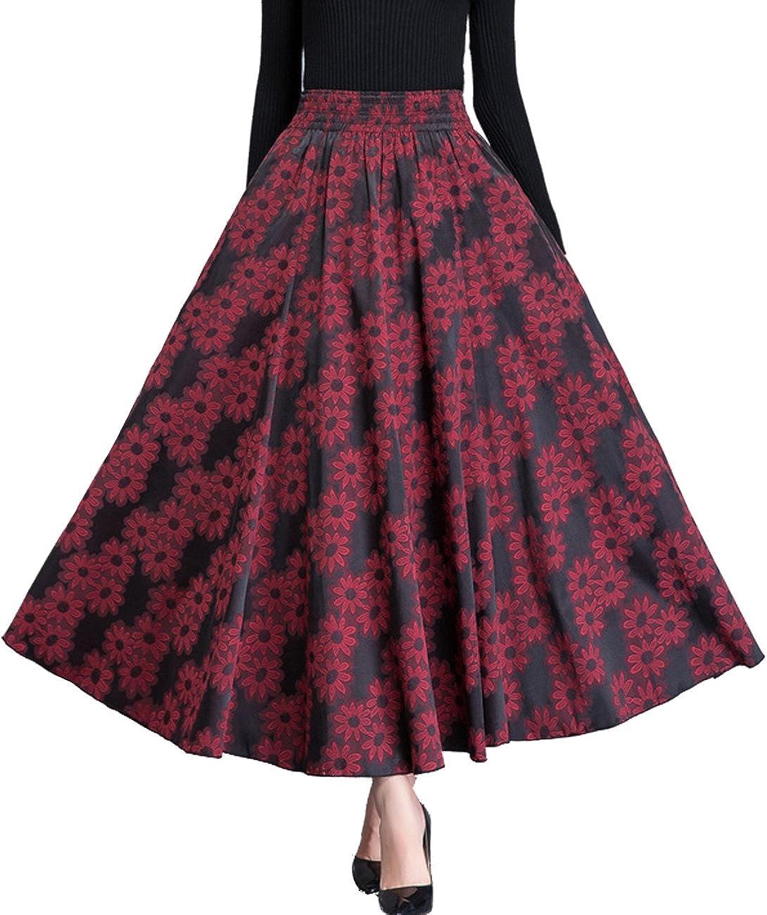 Femirah Women's Casual Cotton Linen Long Maxi Skirt with Elastic Waist
