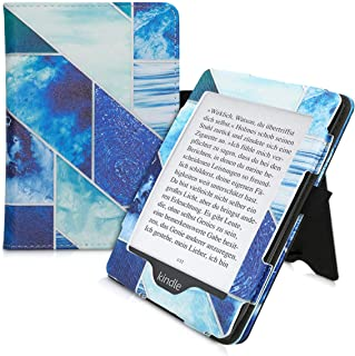 kwmobile 対応: Amazon Kindle Paperwhite (10. Gen - 2018) ケース - 電子書籍カバー PUレザー - オートスリープ reader プロテクション 幾何学 デラックスデザイン 青色/ターコイズ...