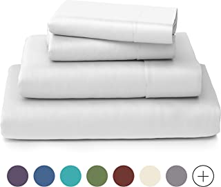 Cosy House Collection Luxury Bamboo Bed Sheet Set - Hypoallergenic Bedding Blend from Natural Bamboo Fiber - Resists Wrinkles - 4 Piece - 1 Fitted Sheet, 1 Flat, 2 Pillowcases - Full, White