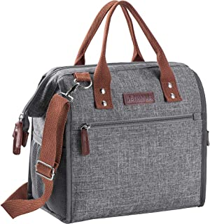 JBYAMUS Insulated Lunch Bag, Fashionable Lunch Bags for Women and Men, Large Capacity Leakproof Lunch Box Organizer for Office Work/Picnic/Hiking/Beach (Gray)