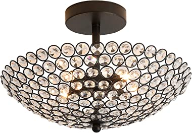 "PUSU Chandeliers for Bedrooms Crystal 4G9 Modern Chandelier Lighting for Dining Room Diameter 13.8"" Living Room Light Flush M"