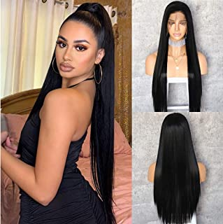 QD-Udreamy 13x6 Lace Wigs Natural Long Black Color Free Part Kanekalon Futura Hair Wigs Heat Resistant Hair Synthetic Lace...